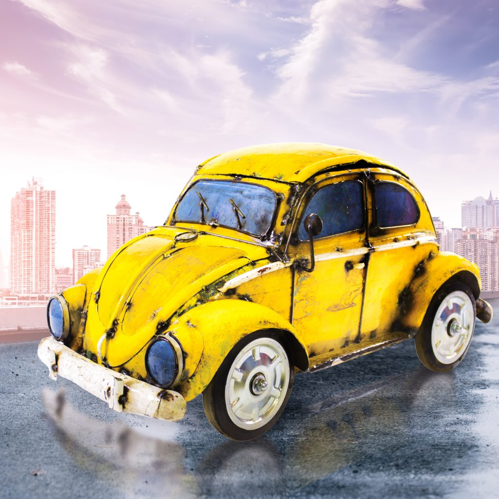 vw beetle yellow – handmade and recycled – beverage cooler   think