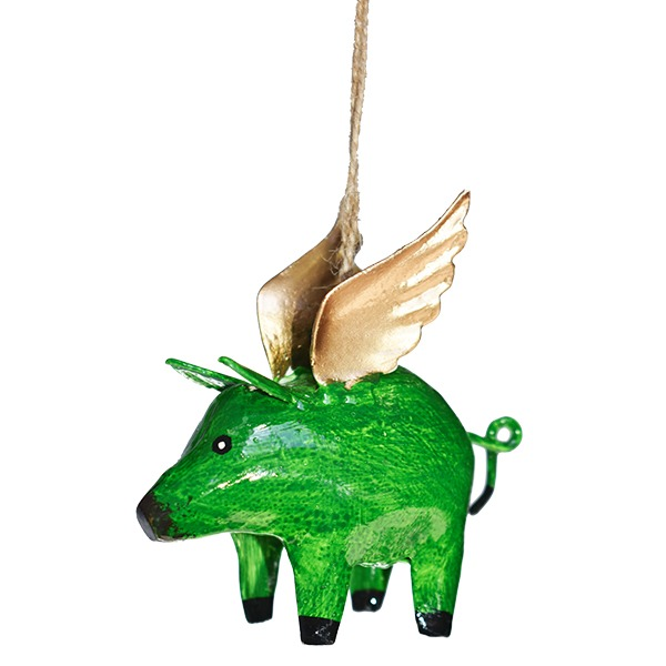 hanging flying pig 2 pack of 4 christmas decorations