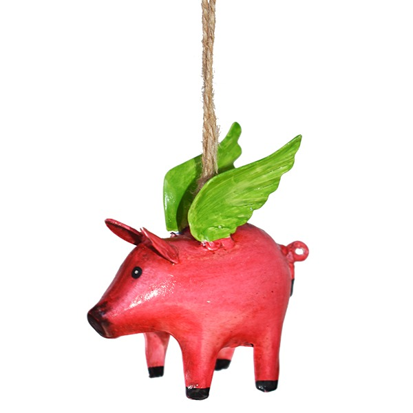 hanging flying pig 3 pack of 4 christmas decorations