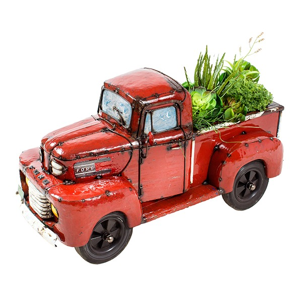 Small Ford Pick Up Truck Planter Beverage Cooler Red Think Outside