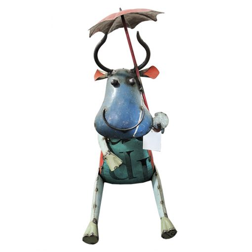 Recycled cow sculpture